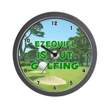 Ezequiel is Out Golfing (Green) Golf Wall Clock
