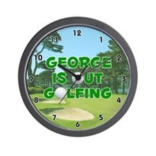 George is Out Golfing (Green) Golf Wall Clock