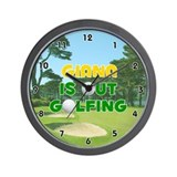 Giana is Out Golfing (Gold) Golf Wall Clock