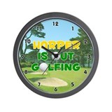 Harper is Out Golfing (Gold) Golf Wall Clock