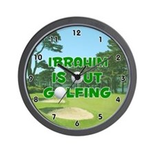 Ibrahim is Out Golfing (Green) Golf Wall Clock