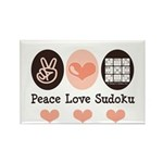 Peace Love Sudoku Rectangle Magnet