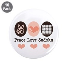 "Peace Love Sudoku 3.5"" Button (10 pack)"