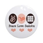 Peace Love Sudoku Ornament (Round)