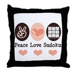 Peace Love Sudoku Throw Pillow
