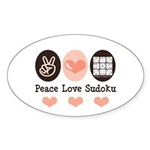 Peace Love Sudoku Oval Sticker