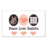 Peace Love Sudoku Rectangle Sticker