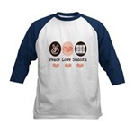 Peace Love Sudoku Kids Baseball Jersey