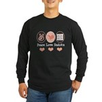 Peace Love Sudoku Long Sleeve Dark T-Shirt