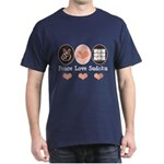 Peace Love Sudoku Dark T-Shirt