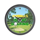 Izabella is Out Golfing (Gold) Golf Wall Clock