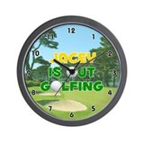 Jacey is Out Golfing (Gold) Golf Wall Clock