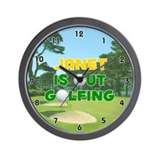 Janet is Out Golfing (Gold) Golf Wall Clock