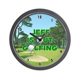 Jeff is Out Golfing (Green) Golf Wall Clock