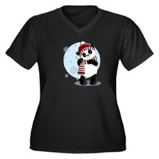 """Panda"" Women's Plus Size V-Neck Dark T-Shirt"