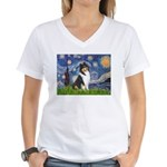 Starry Night / Collie (tri) Women's V-Neck T-Shirt
