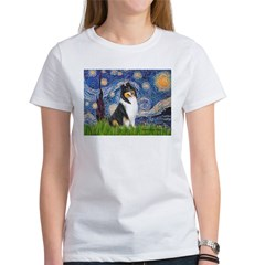 Starry Night / Collie (tri) Women's T-Shirt