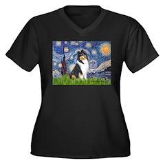 Starry Night / Collie (tri) Women's Plus Size V-Ne