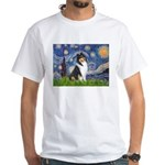 Starry Night / Collie (tri) White T-Shirt