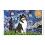 Starry Night / Collie (tri) Sticker (Rectangle)