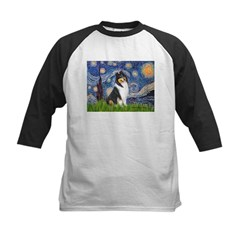 Starry Night / Collie (tri) Kids Baseball Jersey