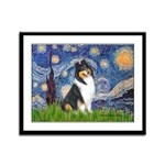 Starry Night / Collie (tri) Framed Panel Print