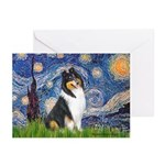 Starry Night / Collie (tri) Greeting Cards (Pk of
