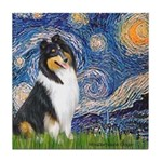 Starry Night / Collie (tri) Tile Coaster