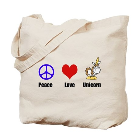 Peace Love Unicorn Tote Bag