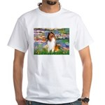 Lilies (2)/Collie (1S) White T-Shirt