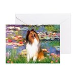 Lilies (2)/Collie (1S) Greeting Cards (Pk of 10)