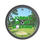 Jorden is Out Golfing (Green) Golf Wall Clock