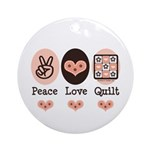 Peace Love Quilt Quilting Ornament (Round)