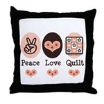 Peace Love Quilt Quilting Throw Pillow