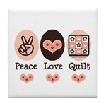 Peace Love Quilt Quilting Tile Coaster