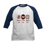 Peace Love Quilt Quilting Kids Baseball Jersey