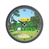 Kaci is Out Golfing (Gold) Golf Wall Clock