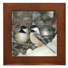 2 Chickadees Framed Tile