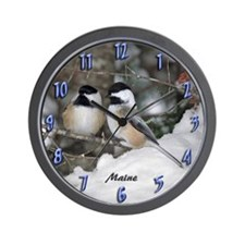 2 Chickadees Wall Clock