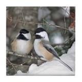 2 Chickadees Tile Coaster