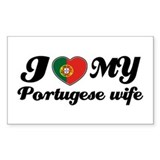 I love my portuguese wife Rectangle Bumper Stickers