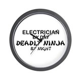 Electrician Deadly Ninja Wall Clock