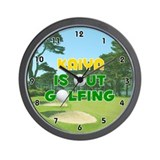 Kaiya is Out Golfing (Gold) Golf Wall Clock