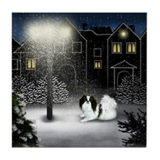 Japanese Chin Dog Snow City Tile Coaster