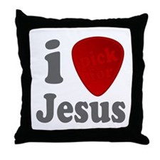 I Pick For Jesus Guitar Pick Throw Pillow