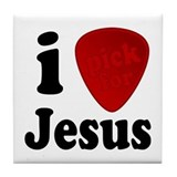 I Pick For Jesus Guitar Pick Tile Coaster