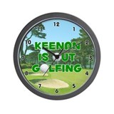 Keenan is Out Golfing (Green) Golf Wall Clock