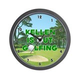 Kellen is Out Golfing (Green) Golf Wall Clock