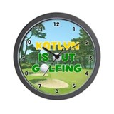 Katlyn is Out Golfing (Gold) Golf Wall Clock