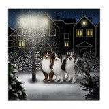 AUSTRALIAN SHEPHERD DOGS SNOW CITY Tile Coaster